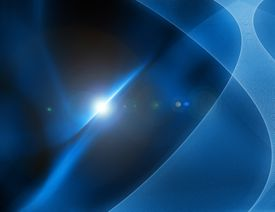 Illustration of blue wave shapes and a bright light