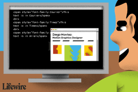 Illustration of a person changing fonts with css code on a computer screen