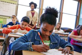 students taking quiz in classroom