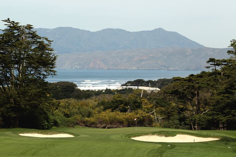 A view of the first hole fairway and green at The Olympic Club in San Francisco