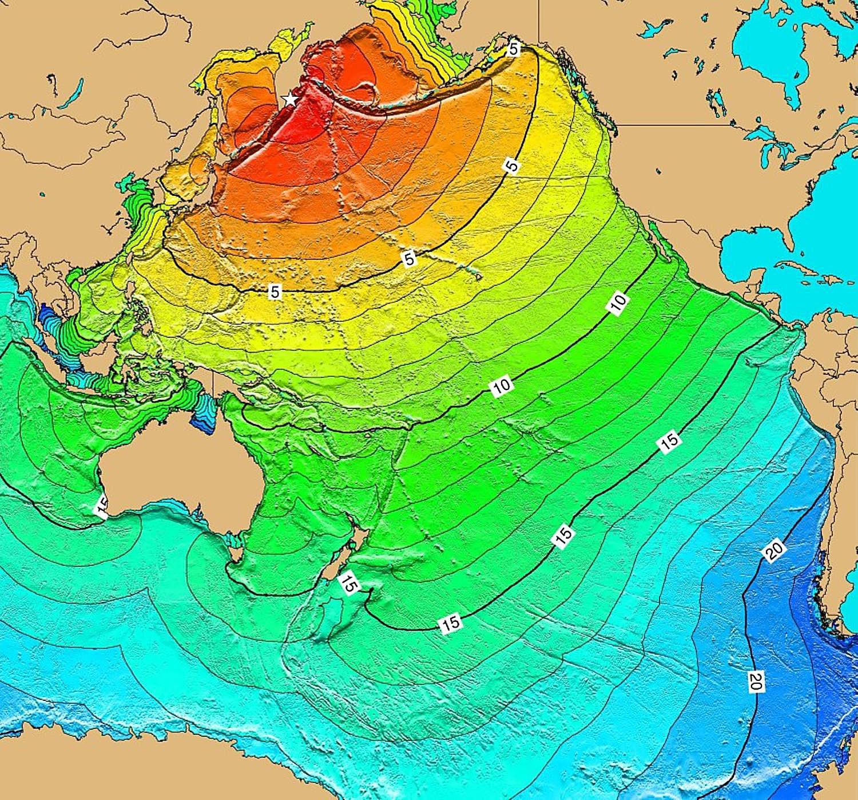 Travel time for 1952 Kamchatka tsunami