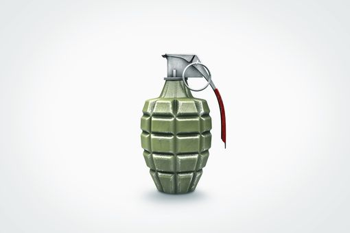 hand grenade on white background