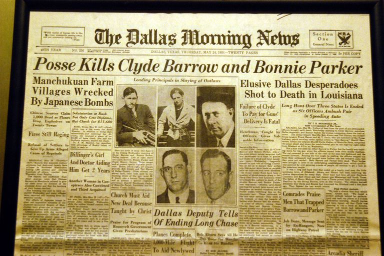 Bonnie and Clyde Newspaper Headline