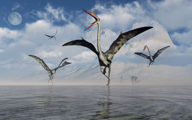 Illustration of Quetzalcoatlus pterosaurs gathering at water