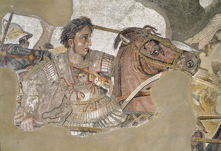 Roman art depicting Alexander the Great riding his horse Bucephalus