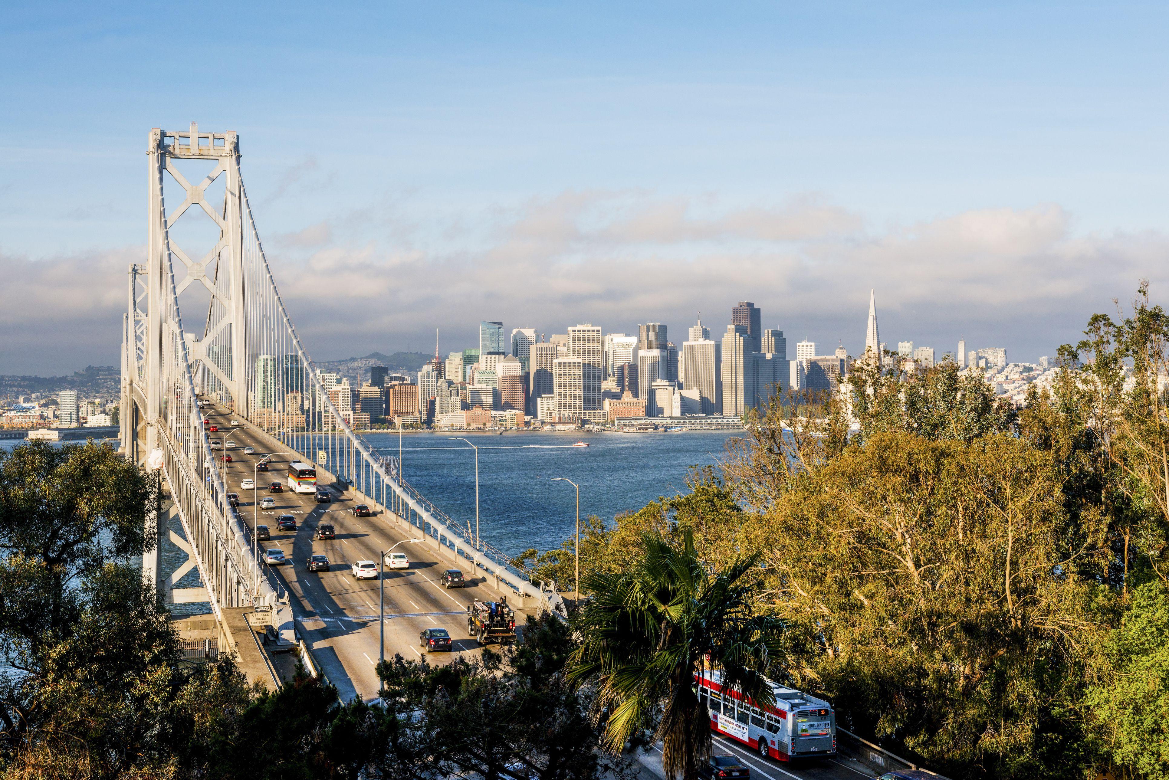 USA, California, San Francisco, Bay Bridge and city skyline