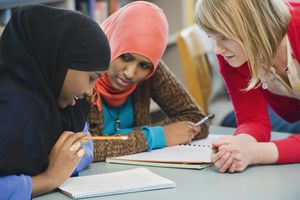 Adults students learning English as a second language.