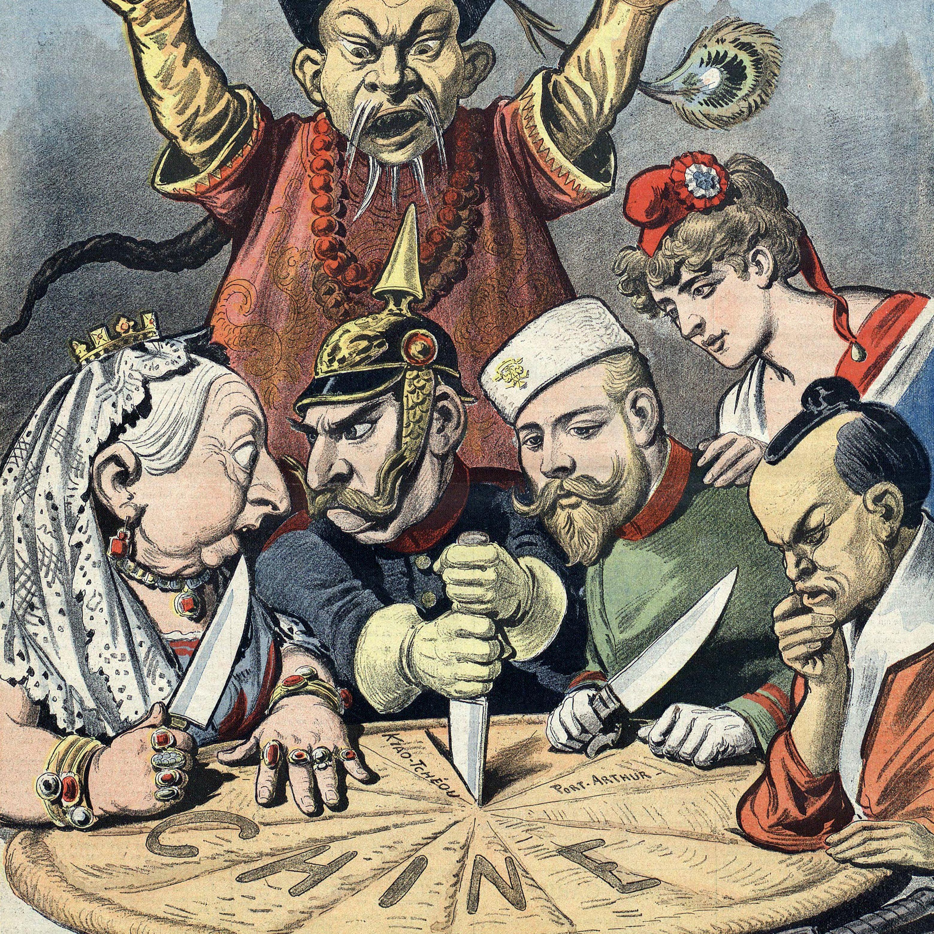 Cartoon of European powers dividing a pie of China