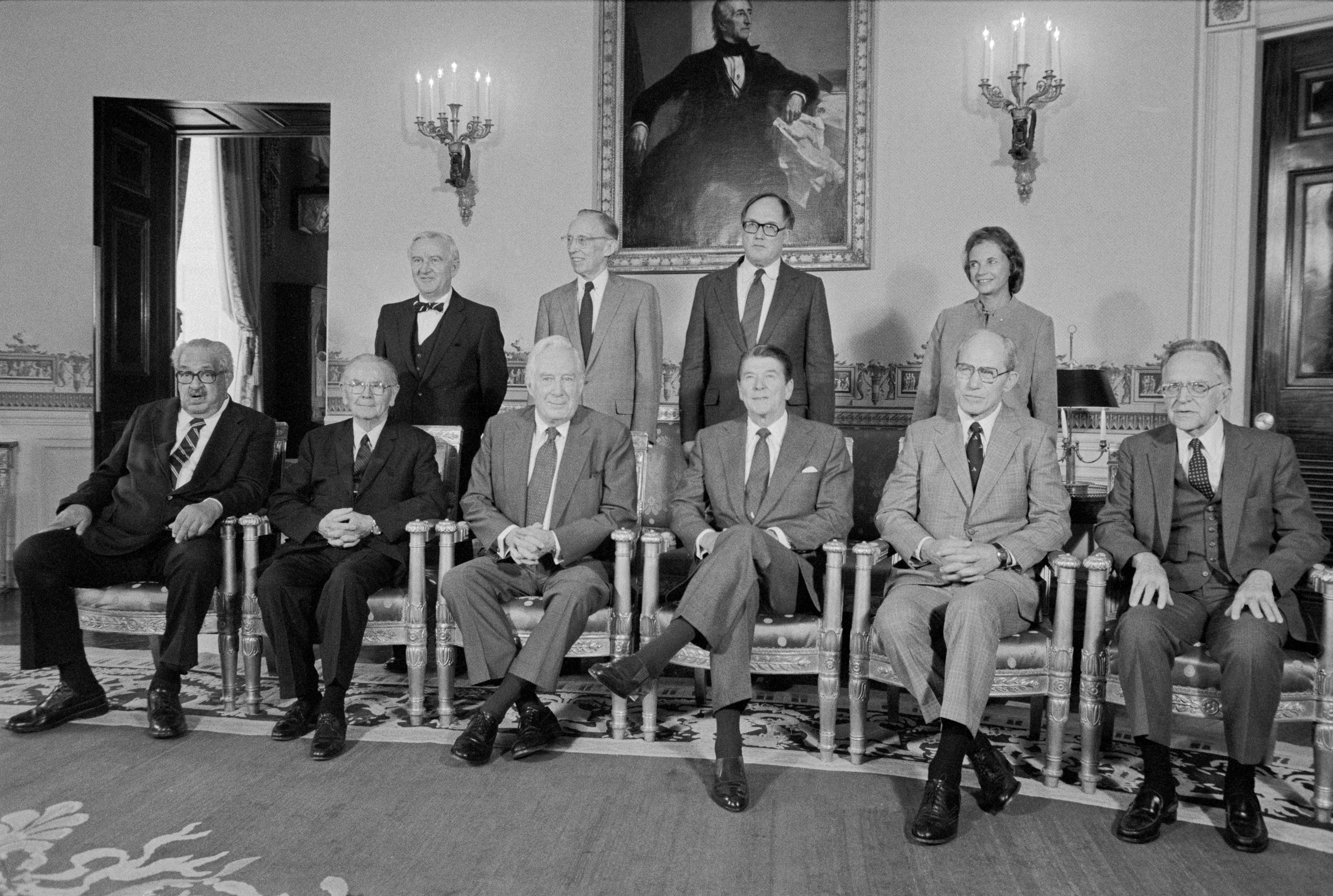 President Ronald Reagan with Supreme Court Justices