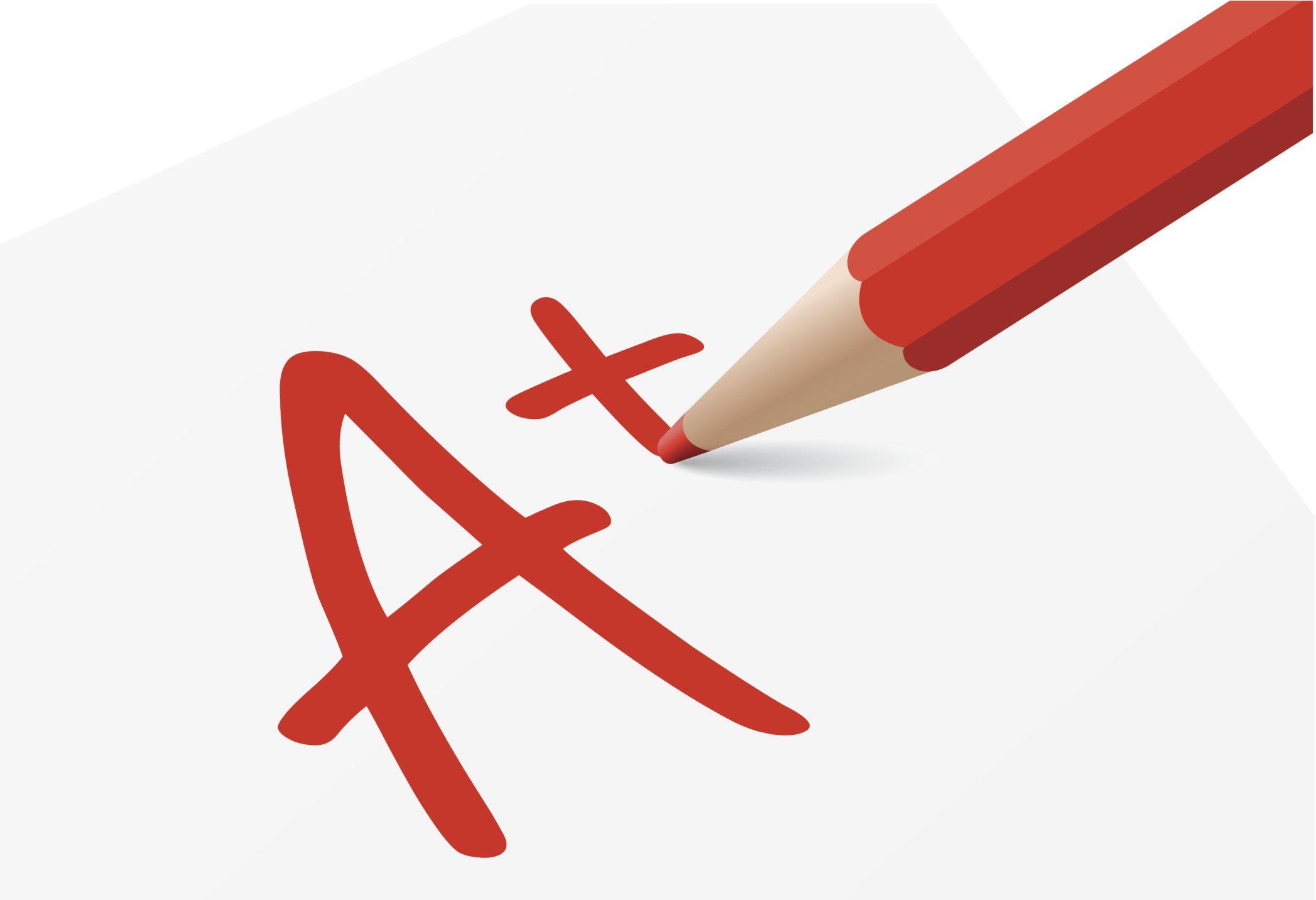 Lápiz rojo y calificación