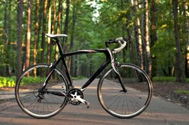 Carbon fiber road bicycle outdoors
