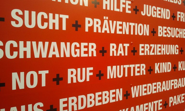 A poster of German words