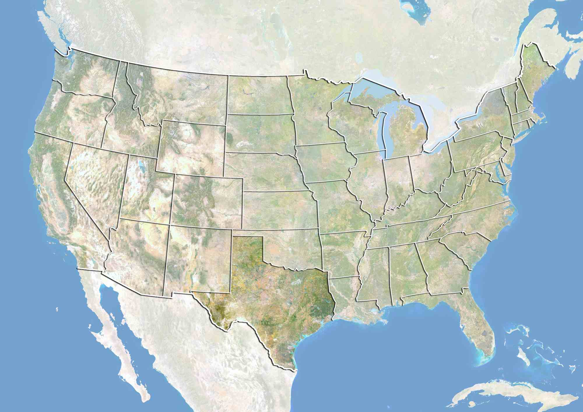 United States and the State of Texas, Satellite Image With Bump Effect