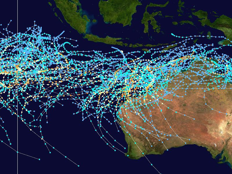 tracks of Southeast Indian tropical cyclones 1980-2005