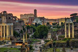 Roman archictecture at sunset