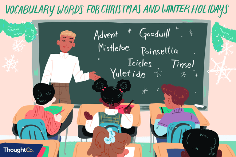 Christmas Words A Z.Christmas And Winter Holiday Vocabulary 100 Word List