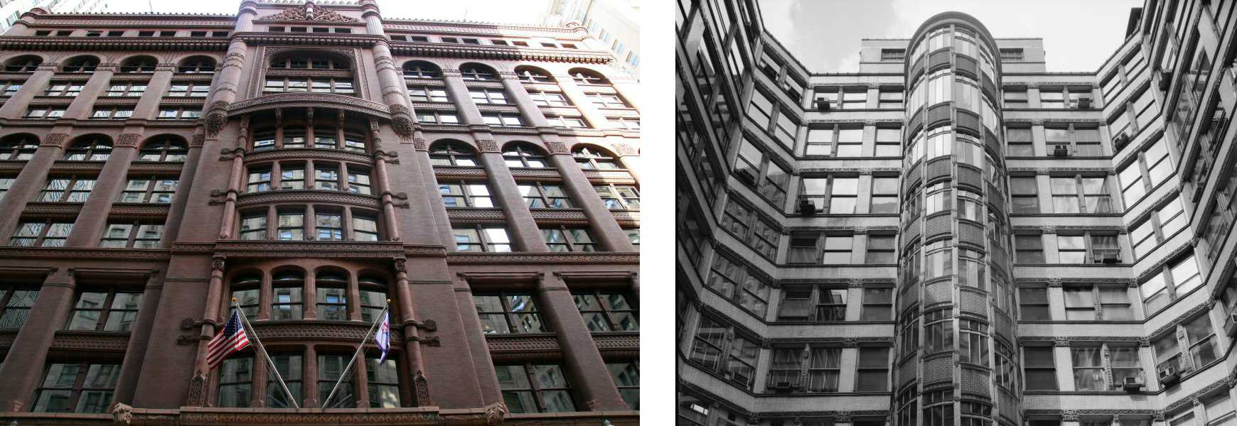 Two photos of the Rookery Building, facade and Light court with Oriel Staircase, Chicago, Illinois