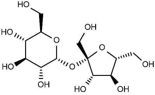 Esta es la estructura química de la sacarosa.