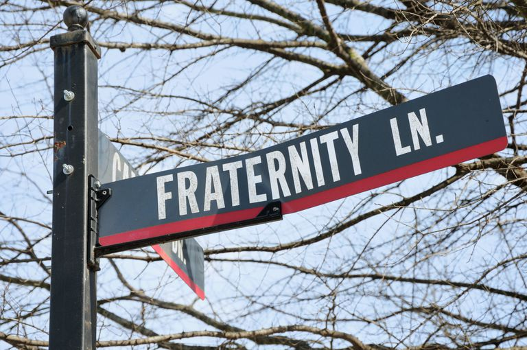 Fraternity lane road street sign on campus