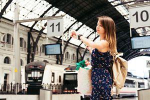 woman in Barcelona train station