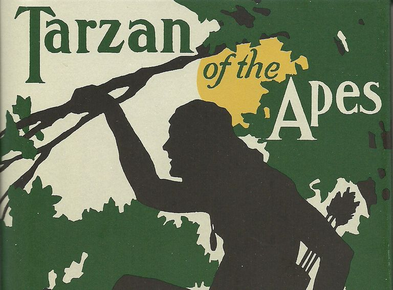 "A book cover depicting a silhouette of a man in a tree and text reading ""Tarzan of the Apes."""