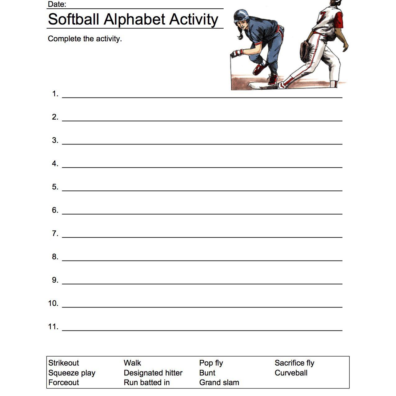 Δραστηριότητα αλφάβητου σόφτμπολ