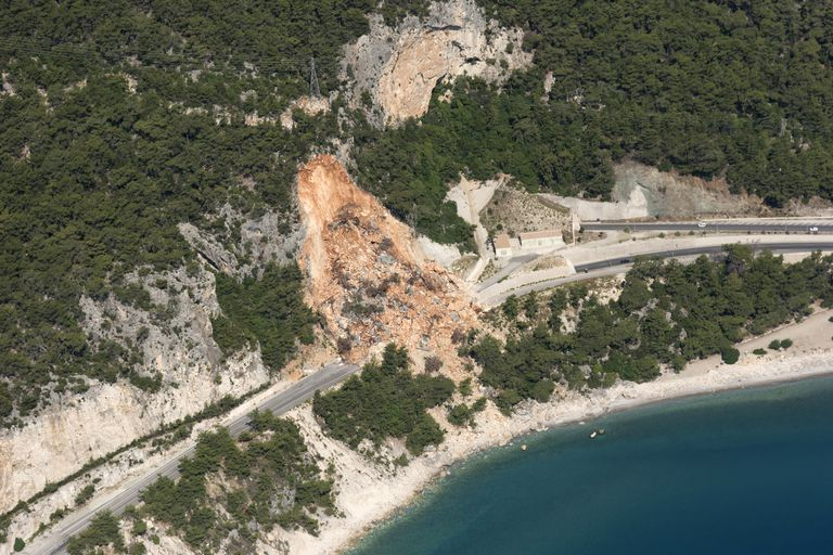 Aerial View of a Landslide on road near the seaside