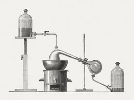 Preparation of diethyl ether, wood engraving, published in 1880