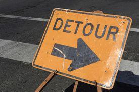 Detour sign symbolizing redirecting traffic