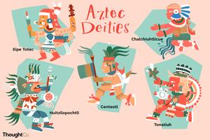 Aztec deities: Huitzilopochtli (Father of the Aztecs), Tonatiuh (God of the Sun), Centeotl (God of Maize), Chalchiuhtlicue (Goddess of Running Water), Xipe Totec (God of Fertility and Sacrifice)