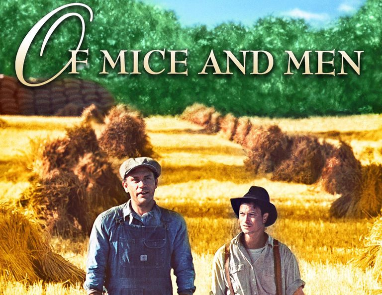 """Of Mice and Men"" movie poster cropped, showing Lenny and George walking on a farm."