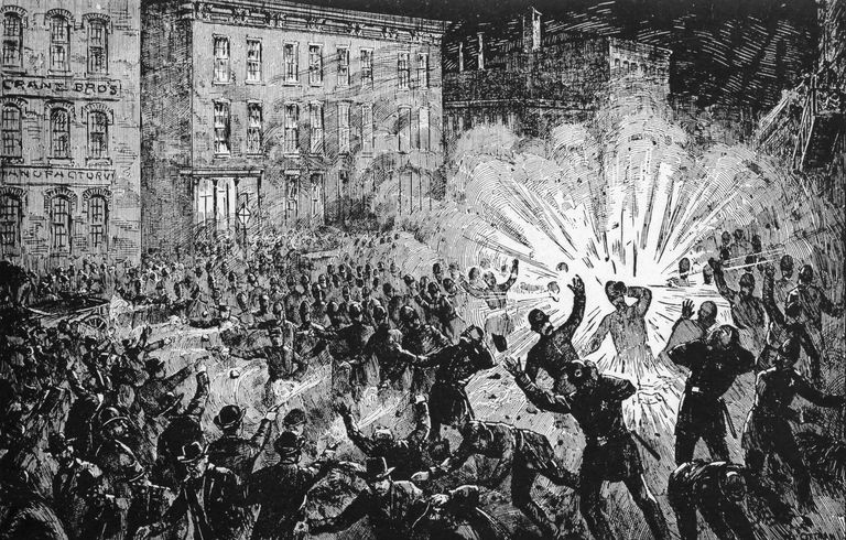 Illustration of bomb explosion in Haymarket Square