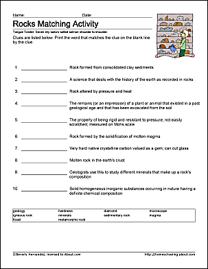 Rocks And Minerals Worksheet 4th Grade Pdf: rocks work sheets and coloring pages,