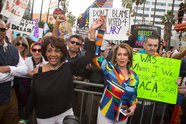 Maxine Waters and Nancy Pelosi attend the LA Pride ResistMarch on June 11, 2017 in West Hollywood, California