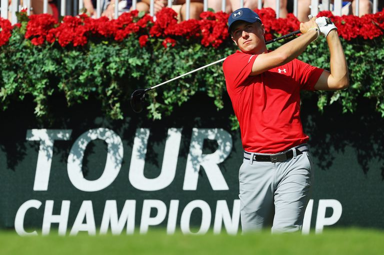 Jordan Spieth hits his tee shot on the first hole during the third round of the TOUR Championship at East Lake Golf Club on September 24, 2016