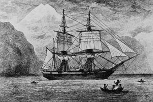 Pen and ink drawing of the HMS Beagle on the water.