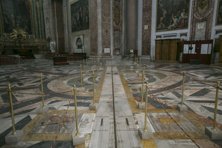 Interior of Santa Maria degli with prime meridian