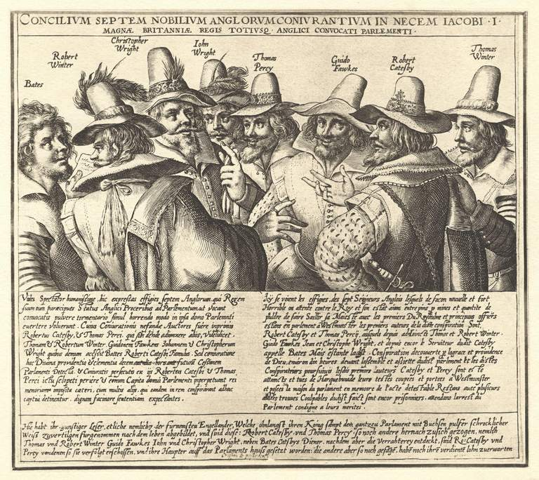 an illustration of the conspirators of the Gunpowder Plot