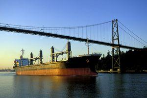 Large import/export tanker ship