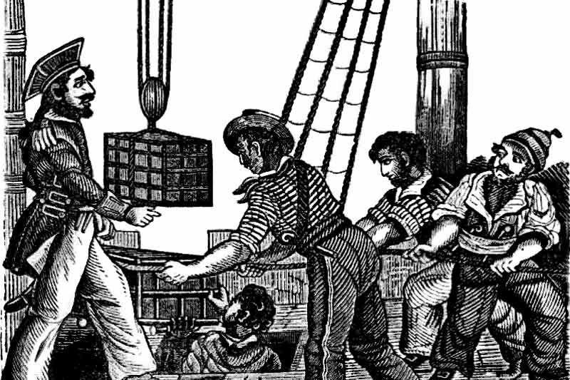 Carregamento de suprimentos em barcos piratas
