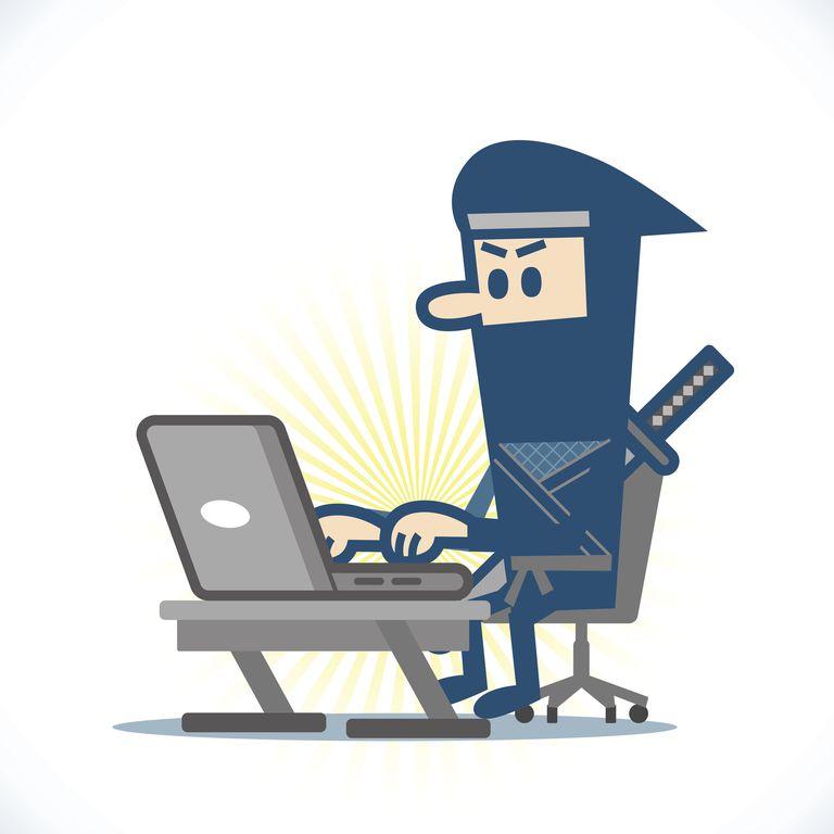 ninja at a laptop