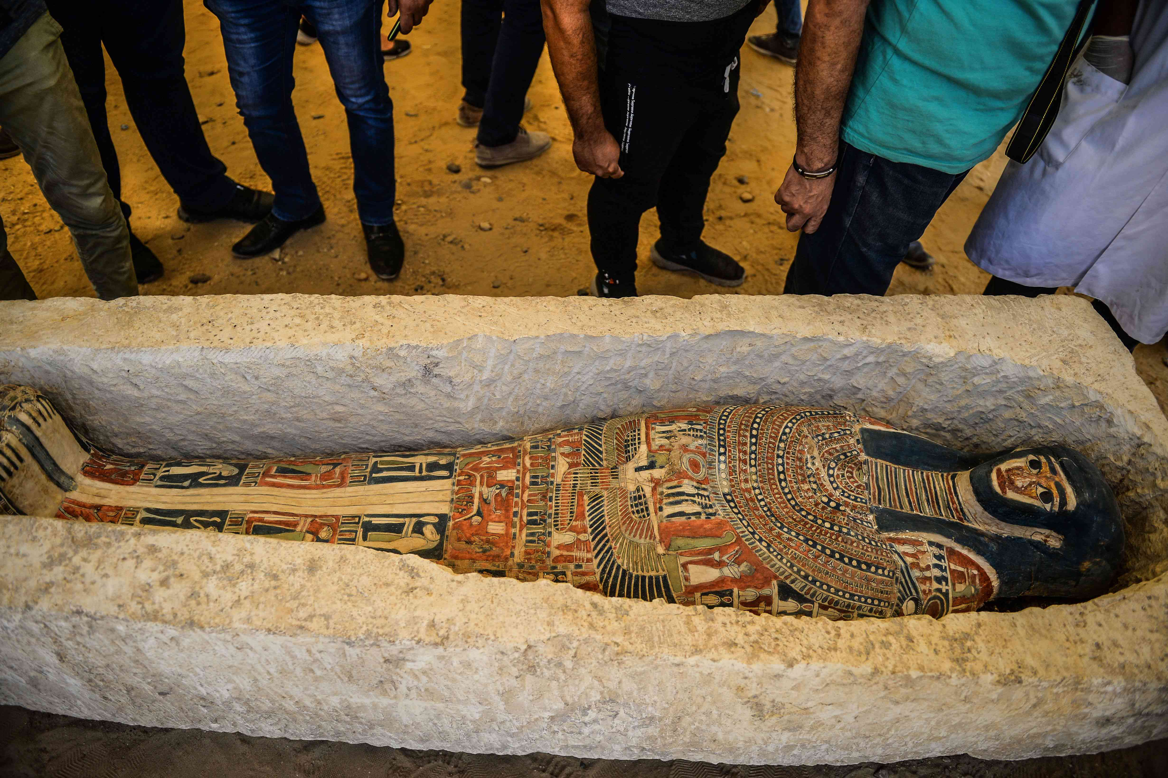 A sarcophagus, part of a discovery carried out almost 300 meters south of King Amenemhat IIs pyramid