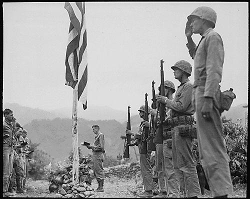 Marine memorial for the fallen, Korea, June 2, 1951.