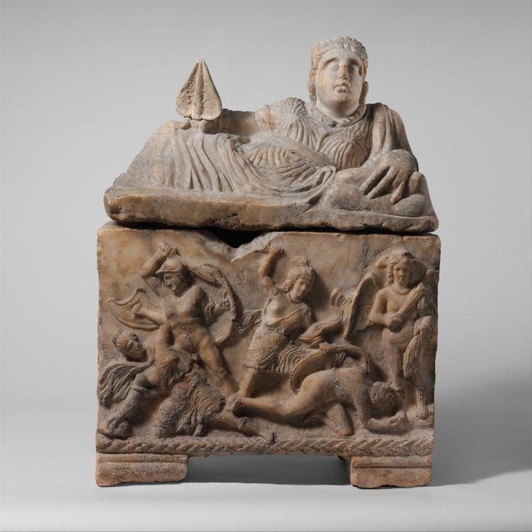 Etruscan alabaster cinerary urn, ca. 3rd century BC.