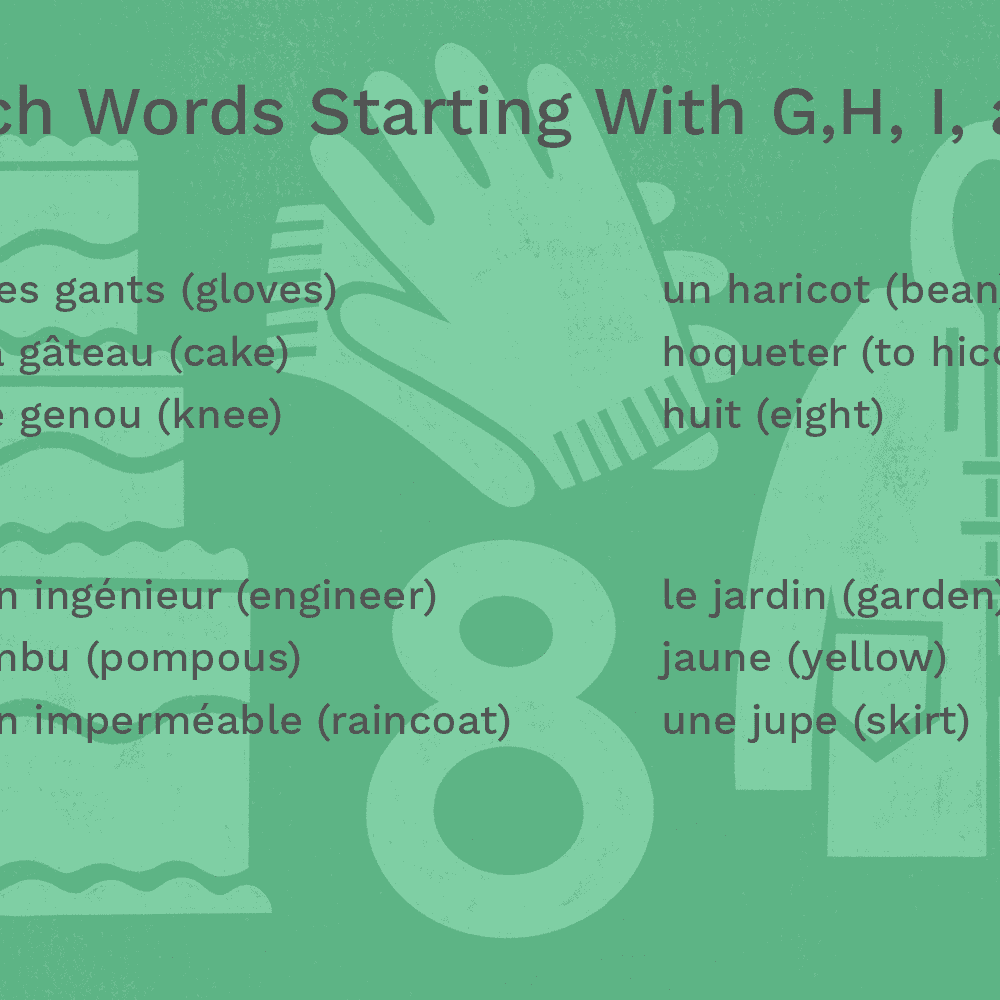 French Words Starting With G H I And J