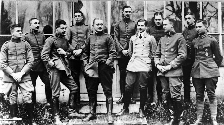The Red Baron poses with young officers