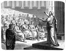 Illustration of Demosthenes orating in front of a crowd.