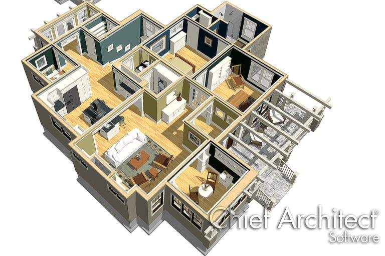 software rendering of floor plan in three dimensions, looking down into furnished rooms when a roof is gone