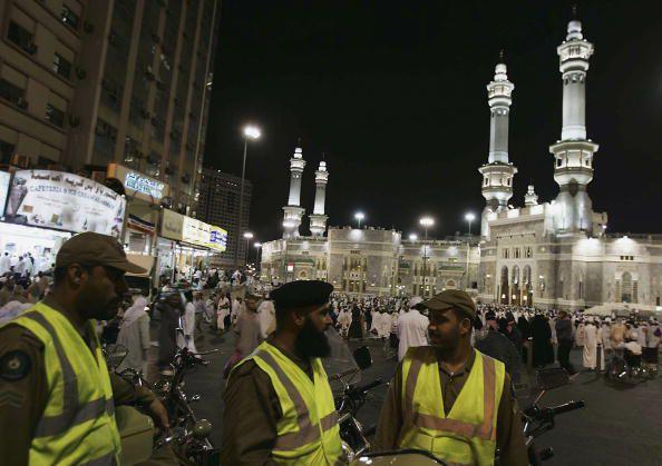 Security guards on duty in Makkah, Saudi Arabia during the 2005 Hajj pilgrimage season.