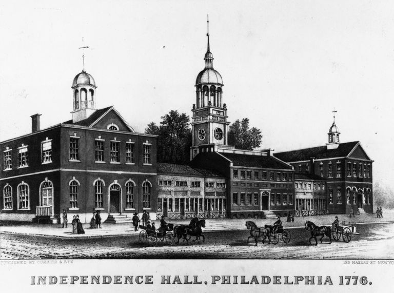 Philadelphia's State House, later named Independence Hall, where representatives of the Second Continental Congress met in defiance of British law and decided how to react to the recent skirmishes at Lexington and Concord. MPI/Getty Images